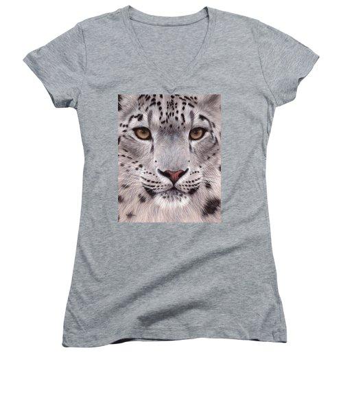 Snow Leopard Face Women's V-Neck (Athletic Fit)