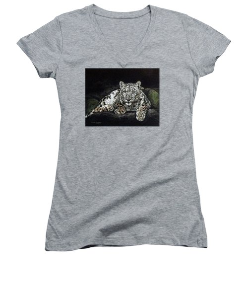 Snow Leopard Women's V-Neck T-Shirt