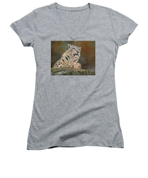 Snow Leopard On Rock Women's V-Neck T-Shirt (Junior Cut) by David Stribbling