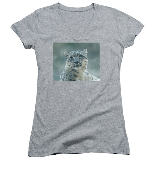 Women's V-Neck T-Shirt (Junior Cut) featuring the photograph Snow Leopard Portrait by Sandy Keeton