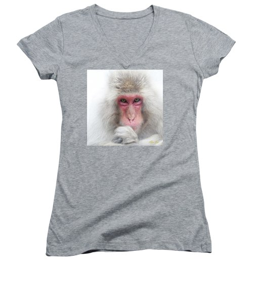 Women's V-Neck T-Shirt featuring the photograph Snow Monkey Consideration by Rikk Flohr