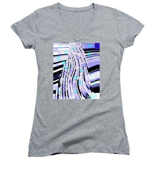 Women's V-Neck T-Shirt (Junior Cut) featuring the digital art Snow On Ski Mountain by Marsha Heiken