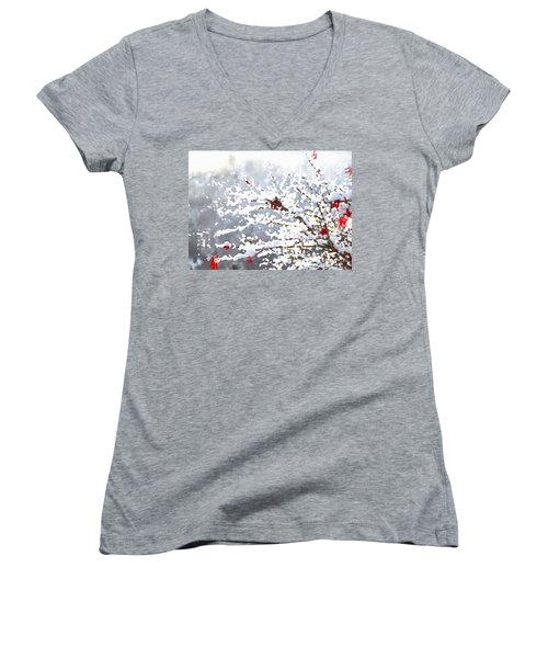 Women's V-Neck featuring the digital art Snow On The Maple by Shelli Fitzpatrick