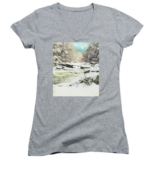 Snow On The Natchaug Women's V-Neck (Athletic Fit)