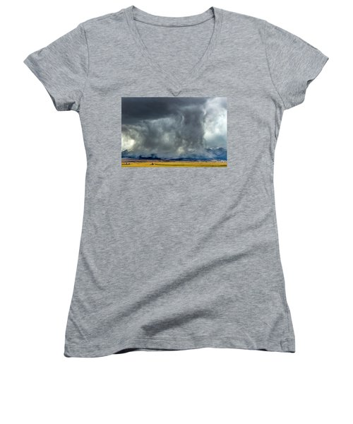 Snow On The Rockies Women's V-Neck (Athletic Fit)