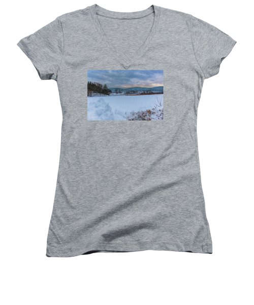 Snow On The West River Women's V-Neck