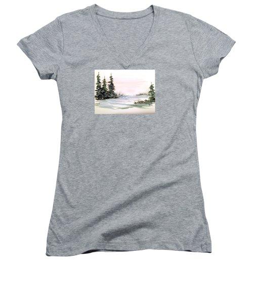 Snow Over The Pasture Women's V-Neck T-Shirt