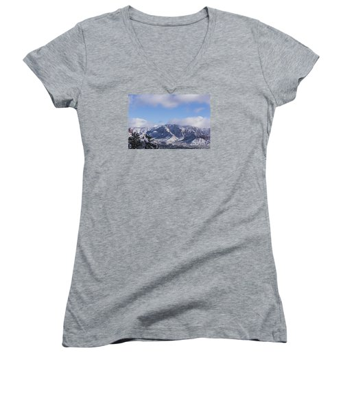 Snow Rim Women's V-Neck T-Shirt (Junior Cut) by Laura Pratt