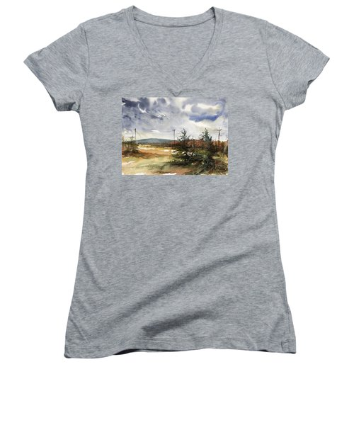 Snow Sky In Fall Women's V-Neck (Athletic Fit)