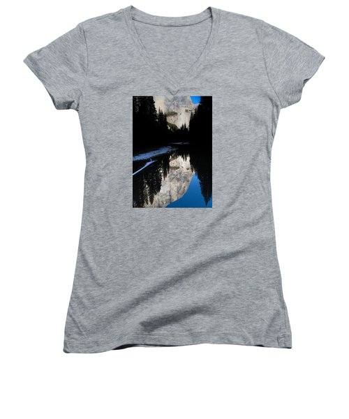Women's V-Neck T-Shirt (Junior Cut) featuring the photograph Snow Sneaks In by Lora Lee Chapman