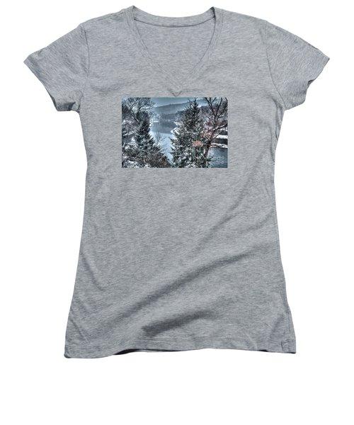 Snow Squall Women's V-Neck T-Shirt (Junior Cut) by Tom Cameron