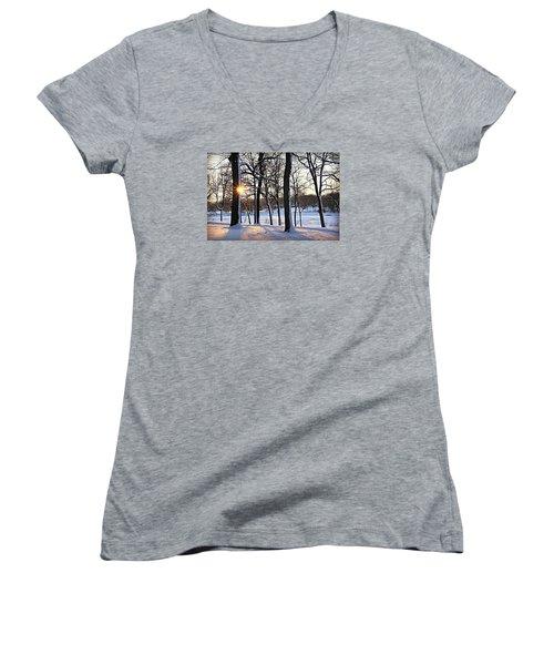 Snow Starred Grove Women's V-Neck T-Shirt (Junior Cut) by Kathy M Krause