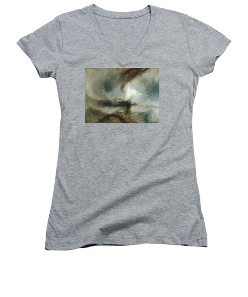 Women's V-Neck T-Shirt (Junior Cut) featuring the painting Snow Storm by Joseph Mallord William Turner