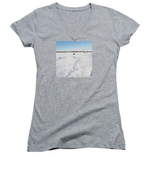 Snow Tracks Women's V-Neck T-Shirt