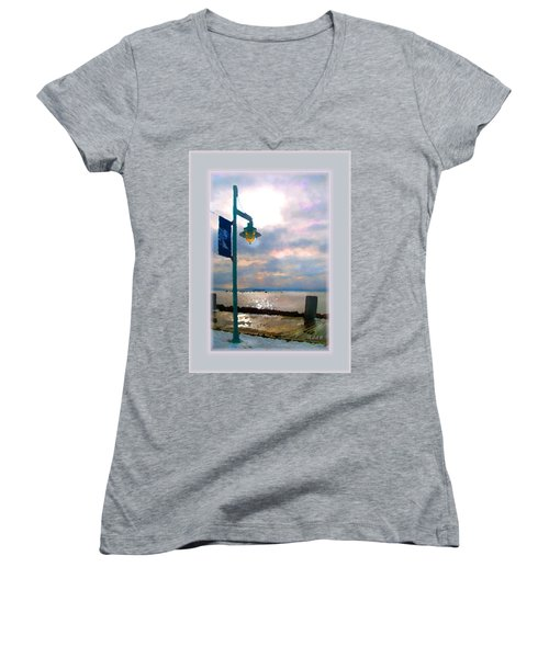 Women's V-Neck T-Shirt (Junior Cut) featuring the photograph Snow Waterfront Park Walk by Felipe Adan Lerma