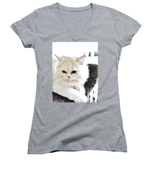 Women's V-Neck T-Shirt (Junior Cut) featuring the photograph Snowball Is 92 Year Old Widows Cat by Marsha Heiken