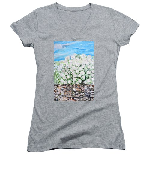 Women's V-Neck T-Shirt (Junior Cut) featuring the painting Snowballs Flowers by Evelina Popilian