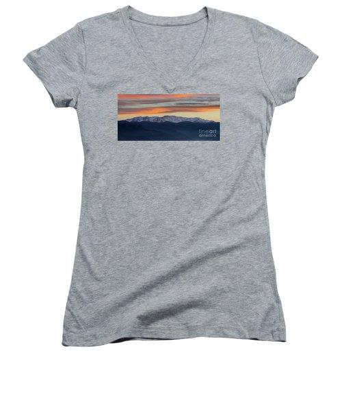 Snowcapped Miapor Range Under Golden Clouds, Armenia Women's V-Neck T-Shirt