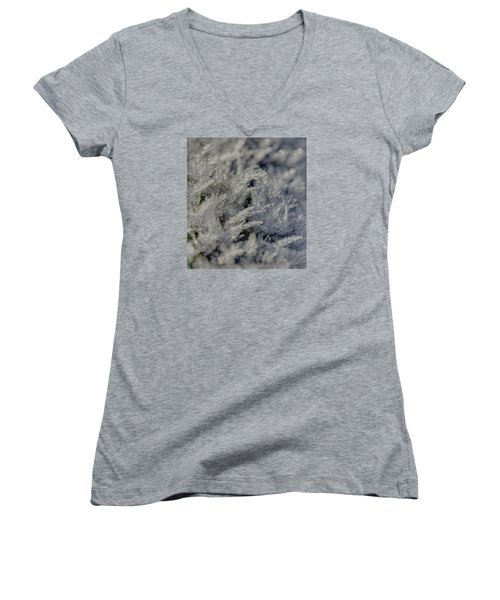 Snowchrystals  Women's V-Neck T-Shirt (Junior Cut) by Leif Sohlman