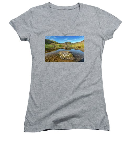 Women's V-Neck T-Shirt (Junior Cut) featuring the photograph Snowdonia Mountain Reflections by Adrian Evans