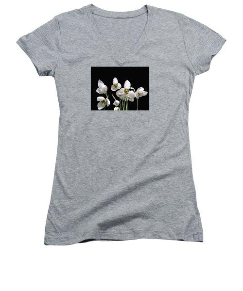Snowdrop Flowers Women's V-Neck