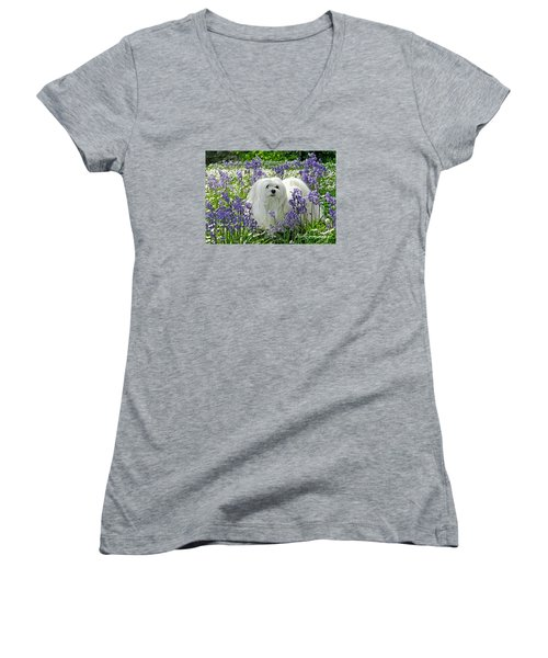 Snowdrop In The Bluebell Woods Women's V-Neck T-Shirt (Junior Cut) by Morag Bates
