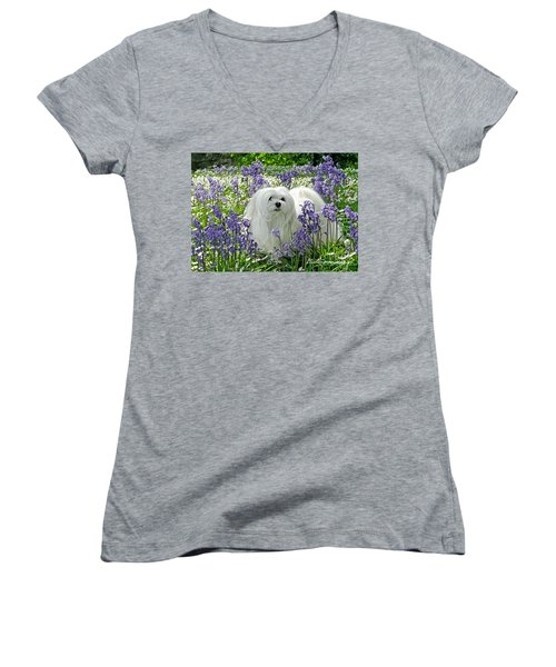 Snowdrop In The Bluebell Woods Women's V-Neck