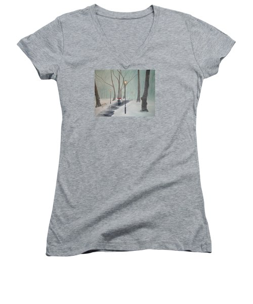Snowfall In The Park Women's V-Neck T-Shirt