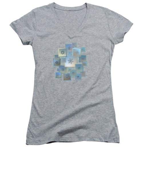 Snowflake Collage - Bright Crystals 2012-2014 Women's V-Neck