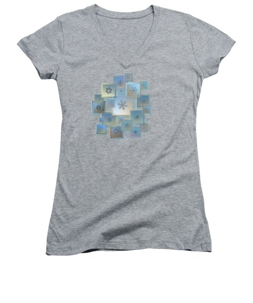 Snowflake Collage - Bright Crystals 2012-2014 Women's V-Neck T-Shirt