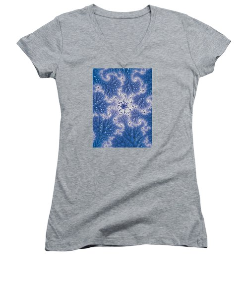 Women's V-Neck T-Shirt (Junior Cut) featuring the photograph Snowflake Embroidered by Ronda Broatch