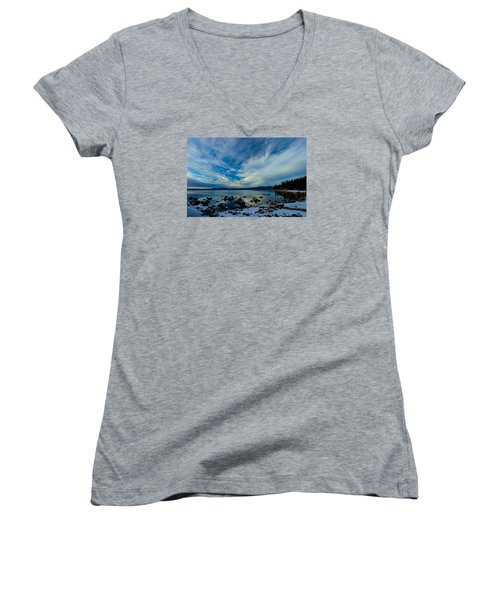 Snowgasm Women's V-Neck T-Shirt (Junior Cut) by Sean Sarsfield