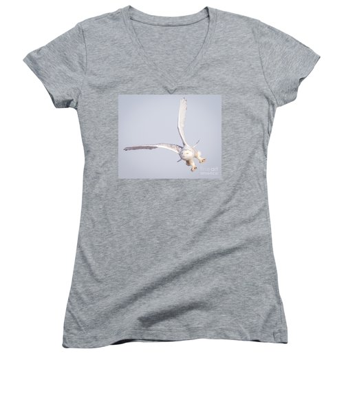 Snowy Owl Flying Dirty Women's V-Neck