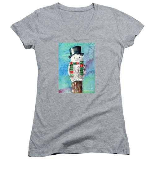Women's V-Neck T-Shirt (Junior Cut) featuring the painting Snowman Owl by LeAnne Sowa