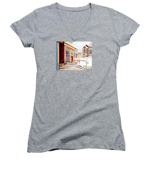 Snowshoe Village Shops Women's V-Neck T-Shirt (Junior Cut) by Shelia Kempf