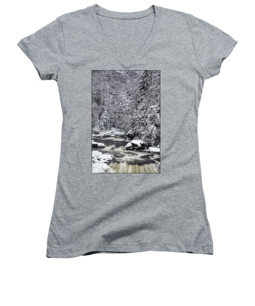 Snowy Blackwater Women's V-Neck T-Shirt (Junior Cut)