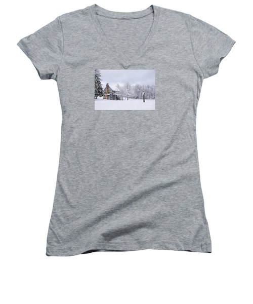 Snowy Cabin Women's V-Neck T-Shirt (Junior Cut) by Benanne Stiens