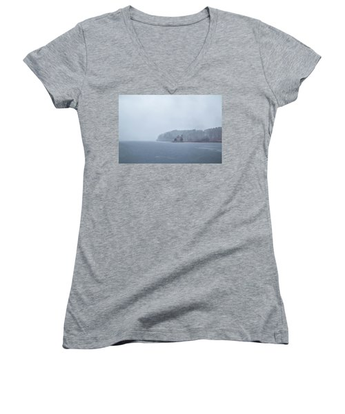 Women's V-Neck featuring the photograph Snowy Church by Brian Hale