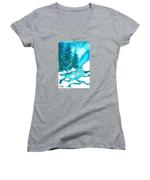 Women's V-Neck T-Shirt (Junior Cut) featuring the mixed media Snowy Creek Banks by Seth Weaver
