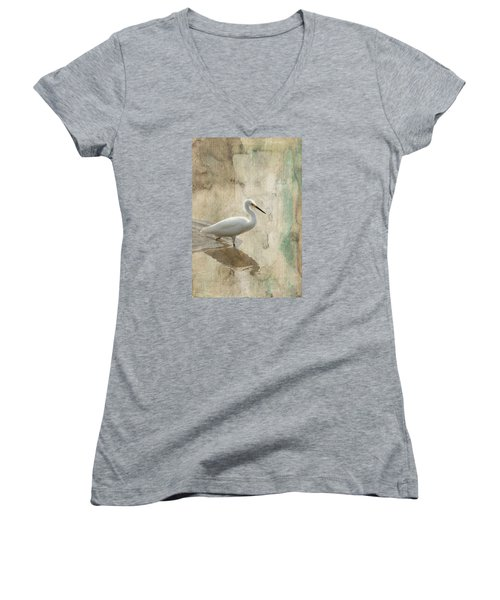 Women's V-Neck T-Shirt (Junior Cut) featuring the mixed media Snowy Egret In Grunge by Rosalie Scanlon