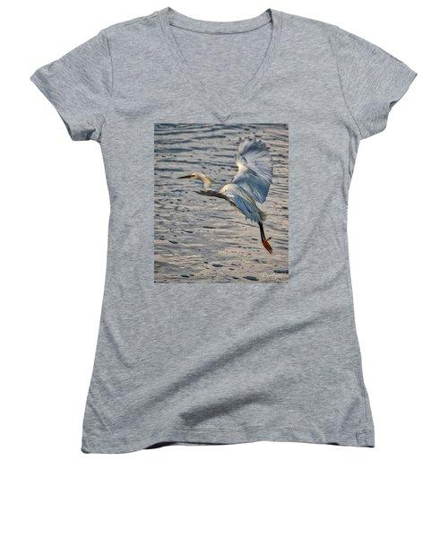 Snowy Egret Landing Women's V-Neck (Athletic Fit)