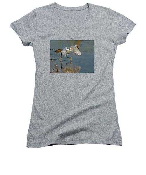 Snowy Egret On The Move Women's V-Neck