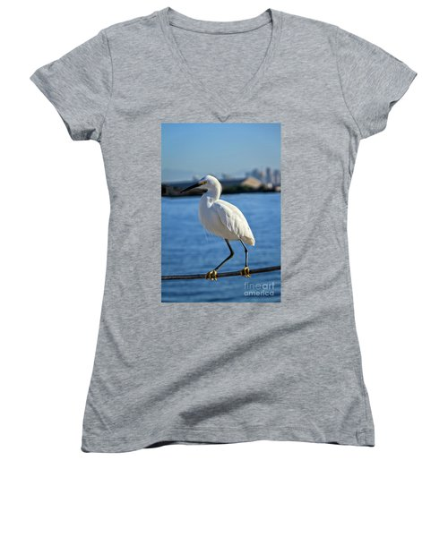 Snowy Egret Portrait Women's V-Neck T-Shirt (Junior Cut) by Robert Bales