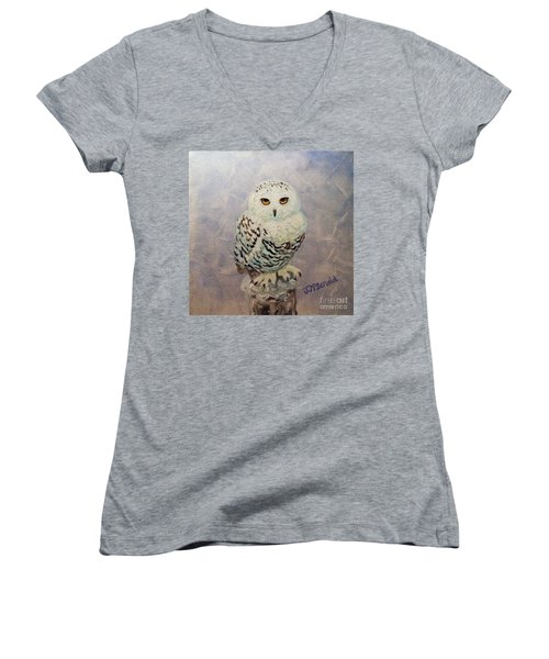 Women's V-Neck T-Shirt (Junior Cut) featuring the painting Snowy Owl by Janet McDonald