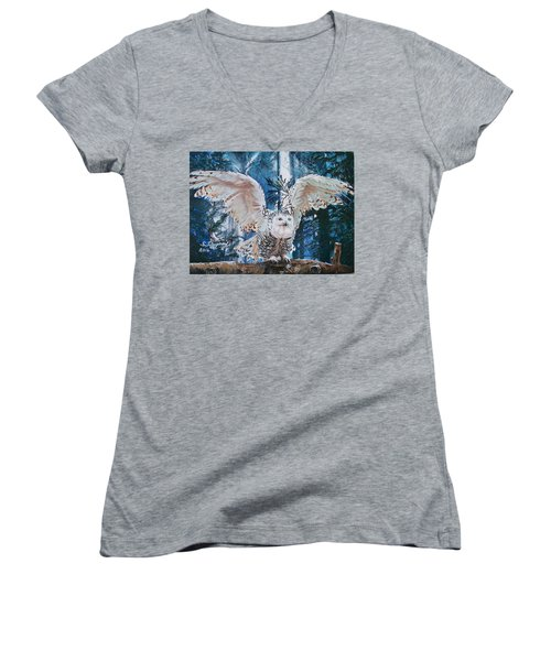 Snowy Owl On Takeoff  Women's V-Neck T-Shirt (Junior Cut) by Sharon Duguay