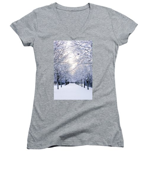 Snowy Pathway Women's V-Neck T-Shirt (Junior Cut) by Marius Sipa
