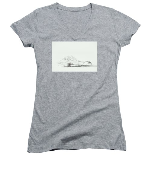Women's V-Neck featuring the photograph Snowy Sunrise by Fiskr Larsen