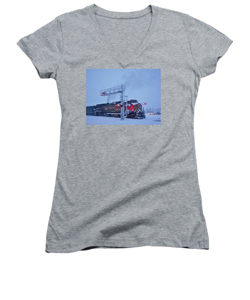 Snowy Train Crossing  Women's V-Neck (Athletic Fit)