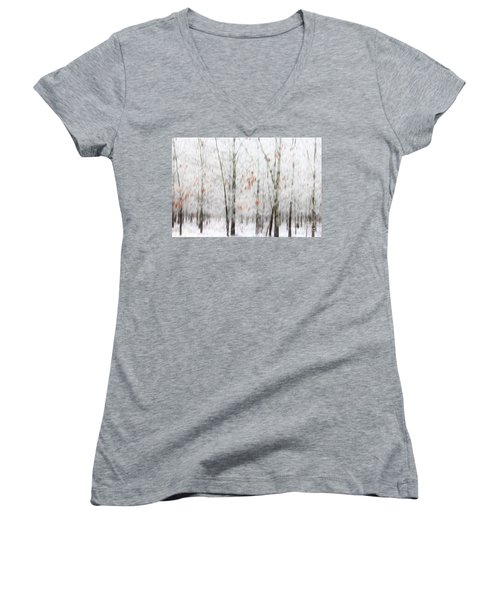 Women's V-Neck T-Shirt (Junior Cut) featuring the photograph Snowy Trees Abstract by Benanne Stiens