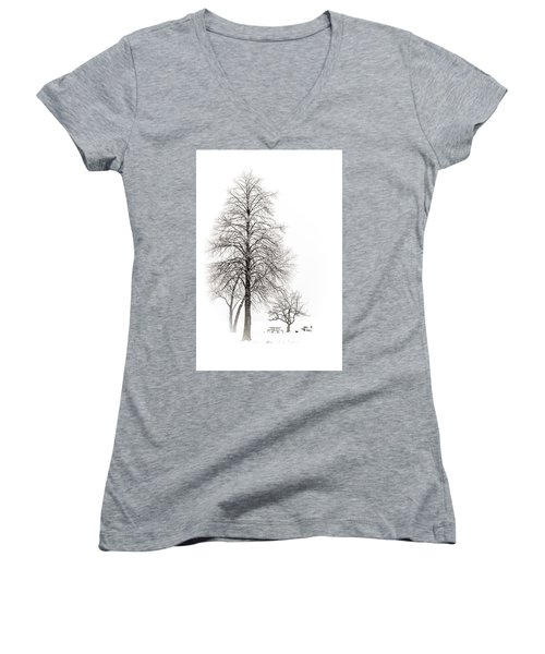 Snowy Trees Women's V-Neck
